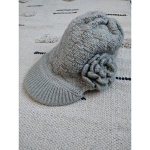 Fossil Knitted Gray/Cream Winter Beanie With Brim